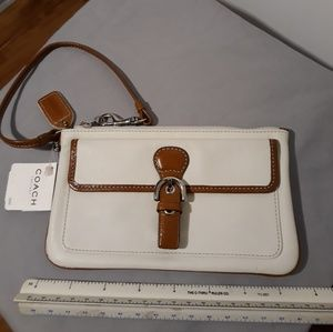 Brown & White Pocket Wristlet - Coach
